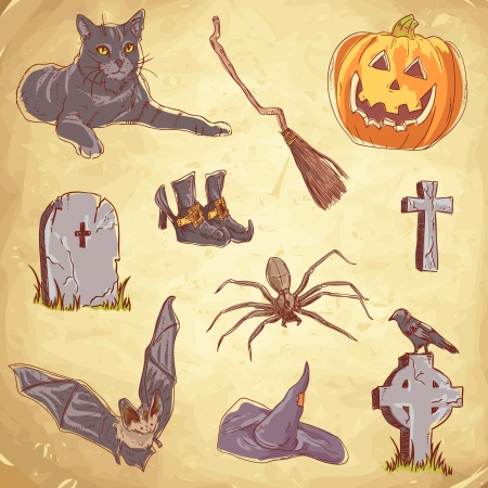 Halloween objects handdrawn vintage collection Vector