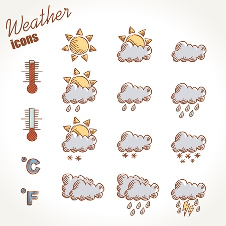 meteo: Retro mano icone meteorologiche disegnata su sfondo vintage grunge