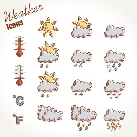 blizzard: Retro weather icons Hand auf Grunge Jahrgang Hintergrund gezeichnet