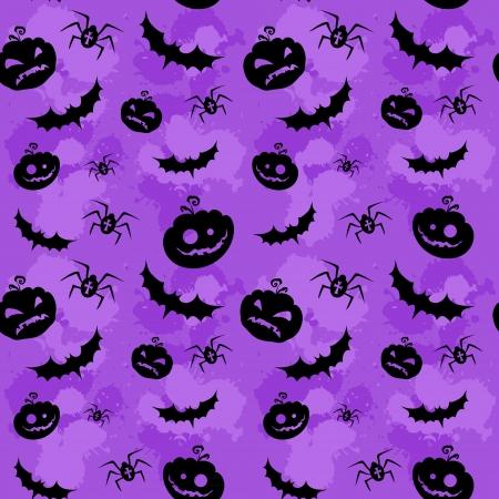 calabazas de halloween: Calabazas de Halloween, murci�lagos y ara�as grungy fondo sin fisuras