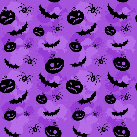 halloween spider: Halloween pumpkins, bats and spiders grungy seamless background