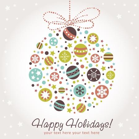 stylized design: Stilizzato, disegno, Natale con i giocattoli natale, palle, stelle e fiocchi di neve Vettoriali