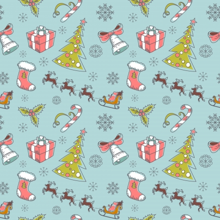 Seamless Christmas hand drawn pattern with sketch fir tree, doodle stocking, candy cane, bell, Santa Clause with deer and snowflakes Vector