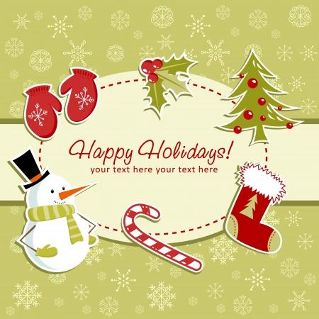 Belle carte de Noël avec le bas de Noël, jouets baies de houx, cannes de bonbon, mitaines, sapin et bonhomme de neige souriant Vecteurs
