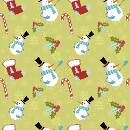 Seamless pattern with cute cartoon Christmas snowman, candy cane, holly berries and red stocking with xmas tree Vector