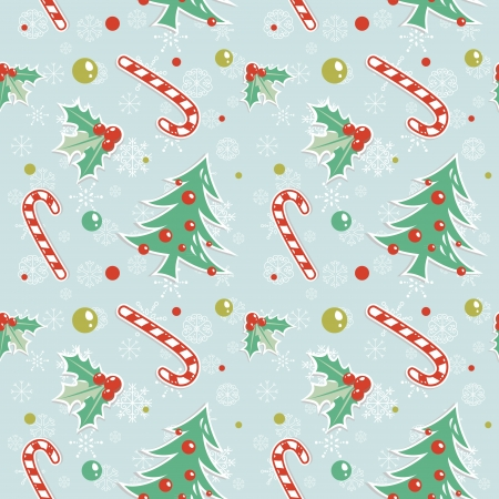 Seamless pattern with cute cartoon Christmas tree with balls, candy cane, holly berries Illustration
