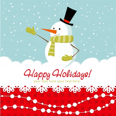 face card: Ornate Christmas card with doodle snowman and decorative lace