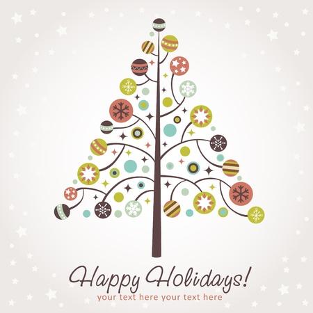 stylized design: Disegno stilizzato albero di Natale con i giocattoli natale, palle, stelle e fiocchi di neve
