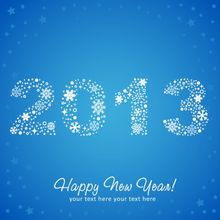 2013 New Year shiny invitation postcard with snowflakes, stars and glitter Stock Vector - 15589228