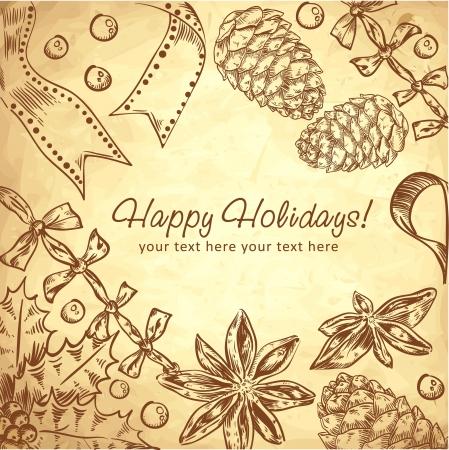 Carino Natale disegnato a mano cartolina retrò con set di inchiostri con bacche di agrifoglio, nastri, anice stellato e coni abete