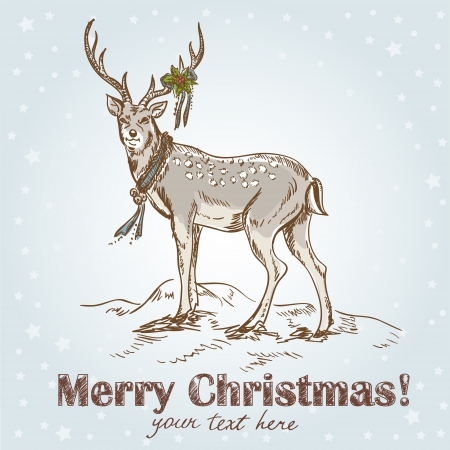 ilex: Cute Christmas hand drawn retro postcard with beautiful santa