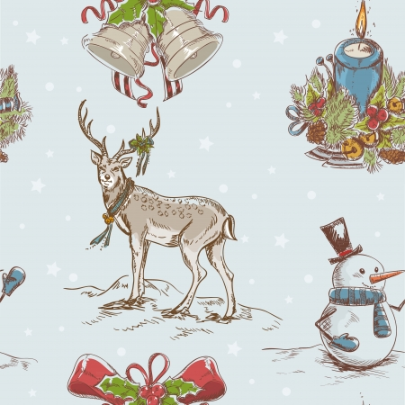 Creative seamless Christmas hand drawn texture with cute  Santa deer, jingle bells, doodle snowman and burning candle on star backdrop