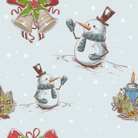 Creative seamless Christmas hand drawn texture with cute jingle bells, cheerful snowman and burning candle on star backdrop Vector