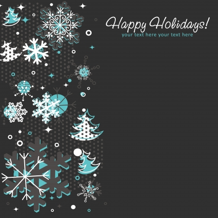 new year eve beads: Ornate Christmas card with snowflakes, xmas fir trees and stars on a halftone background