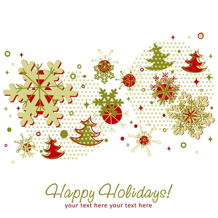 Ornate Christmas card with snowflakes, xmas fir trees and stars on a halftone background Stock Vector - 15589214