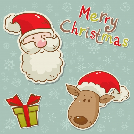 Santa and deer cartoon Christmas greeting card with isolated elements Vector