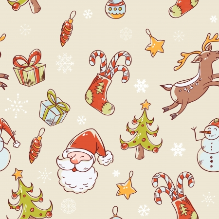 Seamless Christmas hand drawn pattern with fir tree, stocking, candy cane, Santa Clause, deer and snowflakes Stock Vector - 15892925