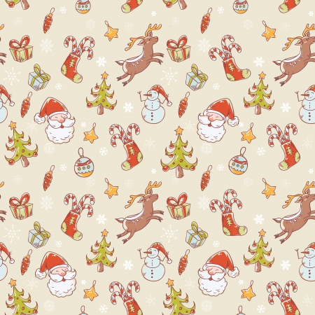 Seamless Christmas hand drawn pattern with fir tree, stocking, candy cane, Santa Clause, deer and snowflakes Vector