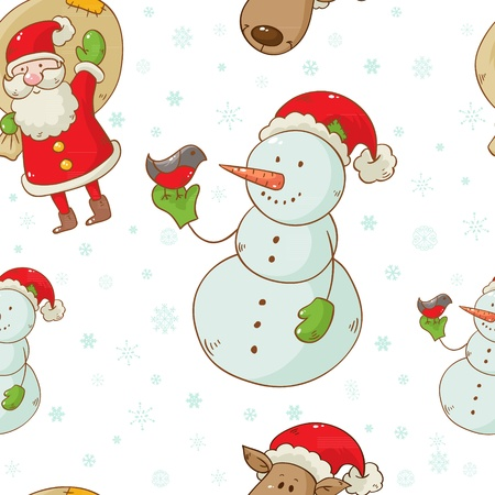 Christmas cartoon characters seamless pattern with Santa Claus, deer and snowman isolated on winter snowflakes background Stock Vector - 15892926