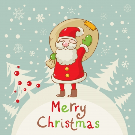 santa suit: Merry Christmas greeting card with cute Santa and a sack of presents on forest and snowflakes background Illustration