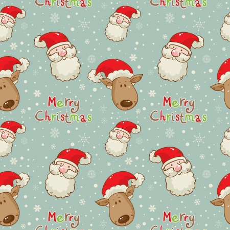 Christmas cartoon characters seamless pattern with Santa Clau and deer on winter snowflakes background Illustration