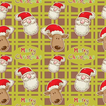 Christmas cartoon characters seamless pattern with Santa Clau and deer on winter snowflakes background Vector