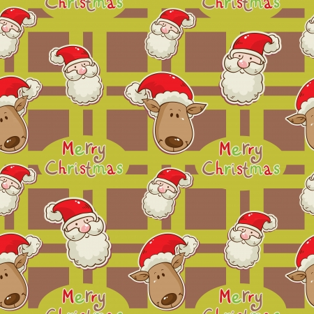 Christmas cartoon characters seamless pattern with Santa Clau and deer on winter snowflakes background Stock Vector - 15892924
