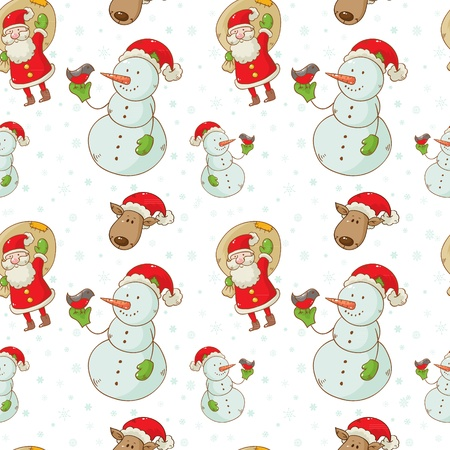 Christmas cartoon characters seamless pattern with Santa Claus, deer and snowman isolated on winter snowflakes background Vector