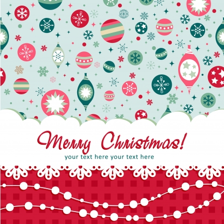 christmas postcard: Decorative Christmas postcard on seamless winter background