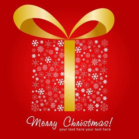 stylized design: Natale stilizzato disegno silhouette confezione regalo fatta di fiocchi di neve