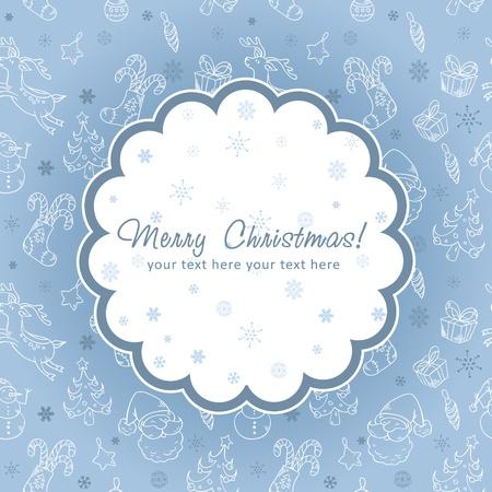 Decorative Christmas postcard on seamless winter background