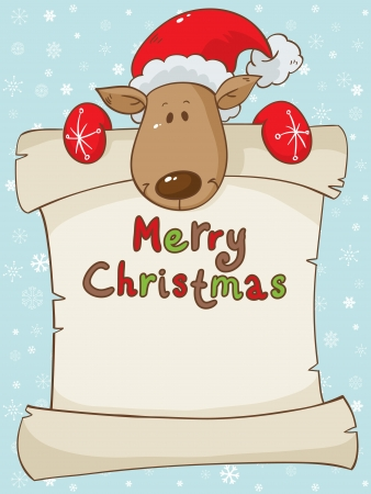 Merry Christmas greeting card with cute santa deer and a scroll Illustration