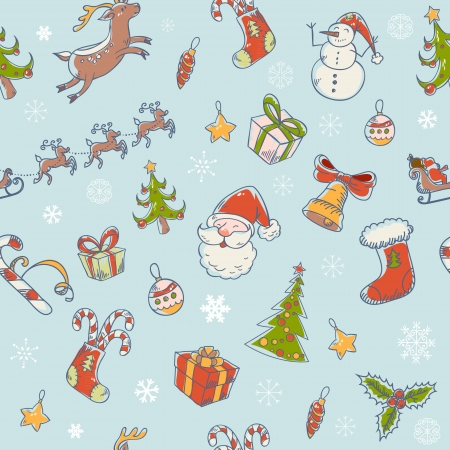 Seamless Christmas hand drawn pattern with fir tree, stocking, candy cane, Santa Clause, deer and snowflakes Stock Vector - 16034705