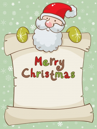 santa suit: Merry Christmas greeting card with cute Santa with a scroll