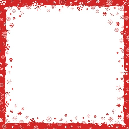 New Year (Christmas) background with snowflakes border and grunge elements Ilustrace