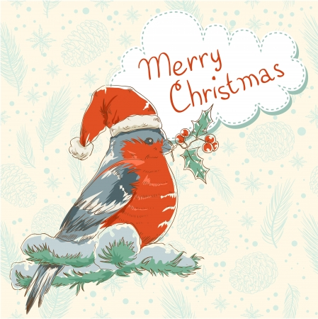 Cute Christmas hand drawn ink retro postcard with beautiful bullfinch bird with red breast sitting on a tree with holly berries and fir cones Stock Vector - 16234164