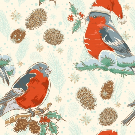 Cute Christmas hand drawn seamless retro background with bullfinch bird with red breast sitting on a tree with holly berries and fir cones