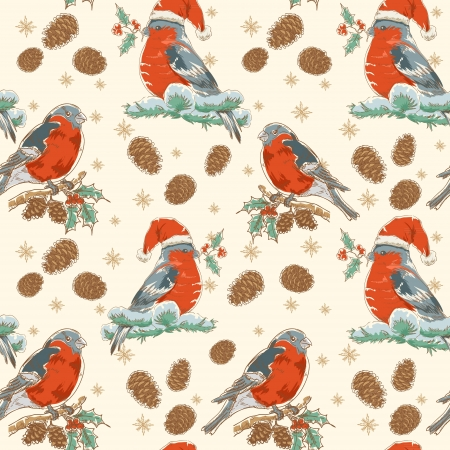 Cute Christmas hand drawn seamless retro background with bullfinch bird with red breast sitting on a tree with holly berries and fir cones Vector