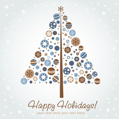christmas cards: Stylized design Christmas tree with xmas toys, balls, stars and snowflakes