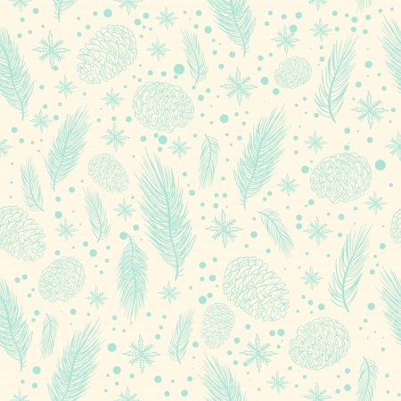 Winter seamless pattern with christmas tree branches, fir cones and snowflakes