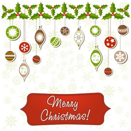 Beautiful Christmas greeting card with xmas toys, balls and holly garland Illustration