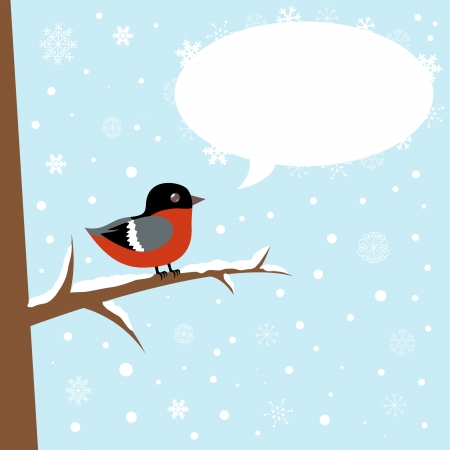 Cute winter bullfinch bird sitting on a branch with speech bubble Vector