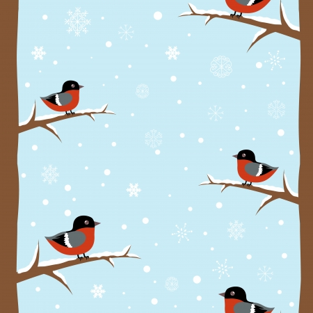 Cute winter bullfinch bird seamless pattern Stock Vector - 16234171