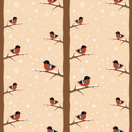 Cute winter bullfinch bird seamless pattern Stock Vector - 16234179