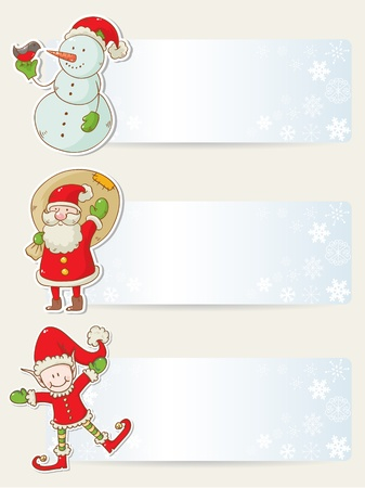 christmas invitation: Christmas congratulation stickers with santa, elf and snowman Illustration