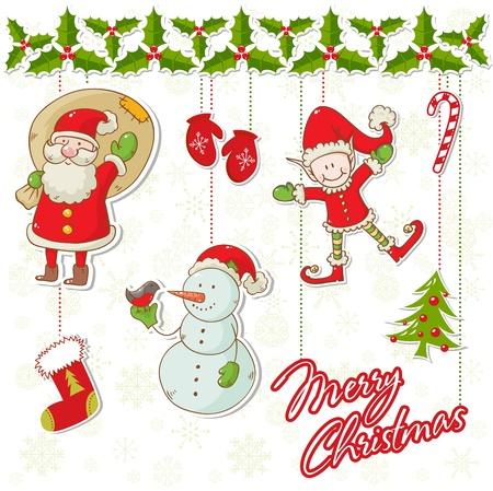 elfos navideÑos: Colección de personajes de dibujos animados de Navidad con acebo y elementos guirnalda y copos de nieve de fondo Vectores