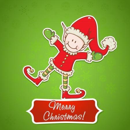 santa helper: Christmas card with cute little elf Santa helper