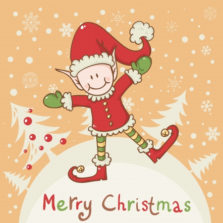 Christmas card with cute little elf Santa helper