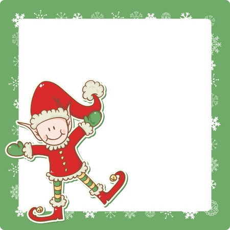 Christmas card with cute little elf Santa helper Vector