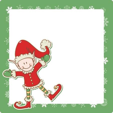 helpers: Tarjeta de Navidad con cute little elf Santa helper